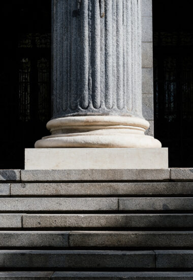 Marble Corinthian Column Base in Public Building.