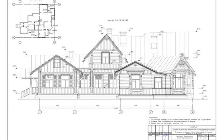 Дача (деревянная 1–2-этажная) Чертеж фасада